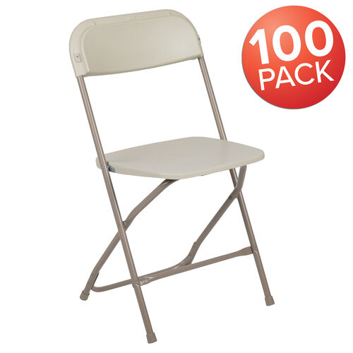 Our HERCULES Series 100 Pack 650 lb. Capacity Premium Beige Plastic Folding Chair is on sale now.