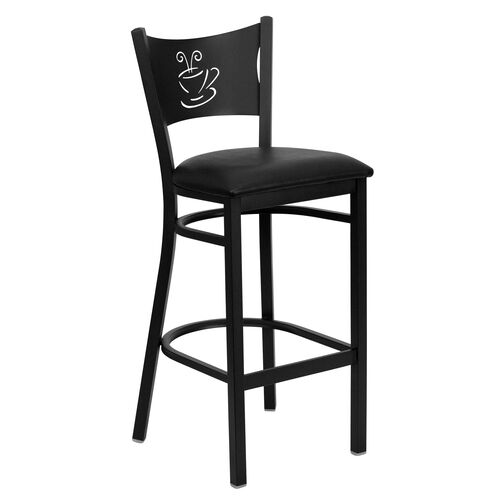 Our Black Coffee Back Metal Restaurant Barstool with Black Vinyl Seat is on sale now.