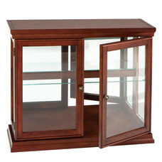 Double Door Wood and Tempered Glass 36