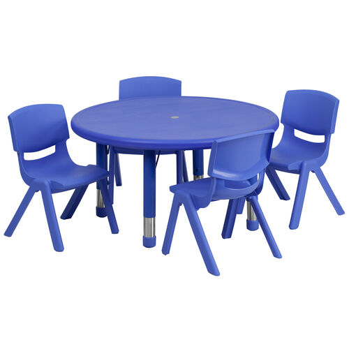 """33"""" Round Plastic Height Adjustable Activity Table Set with 4 Chairs"""