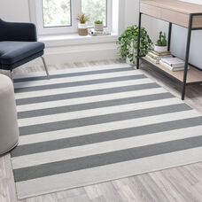 5' x 7' Grey & White Striped Handwoven Indoor/Outdoor Cabana Style Stain Resistant Area Rug