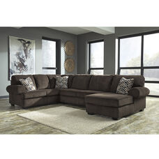 Signature Design by Ashley Jinllingsly 3-Piece LAF Sofa Sectional in Chocolate Corduroy