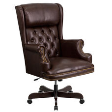 High Back Traditional Tufted Brown Leather Executive Ergonomic Office Chair with Oversized Headrest & Nail Trim Arms