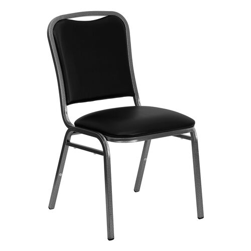 Our HERCULES Series Stacking Banquet Chair in Black Vinyl - Silver Vein Frame is on sale now.