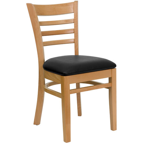 Our Natural Wood Finished Ladder Back Wooden Restaurant Chair with Black Vinyl Seat is on sale now.
