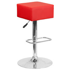 Contemporary Red Vinyl Adjustable Height Barstool with Square Seat and Chrome Base