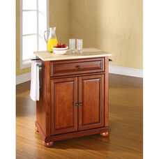 Natural Wood Top Portable Kitchen Island with Alexandria Feet - Maple and Classic Cherry Finish