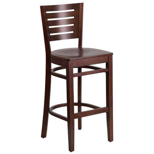 Our Walnut Finished Slat Back Wooden Restaurant Barstool is on sale now.