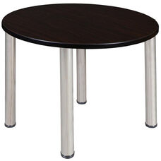Kee 36'' Round Laminate Breakroom Table with PVC Edge - Walnut with Chrome Legs