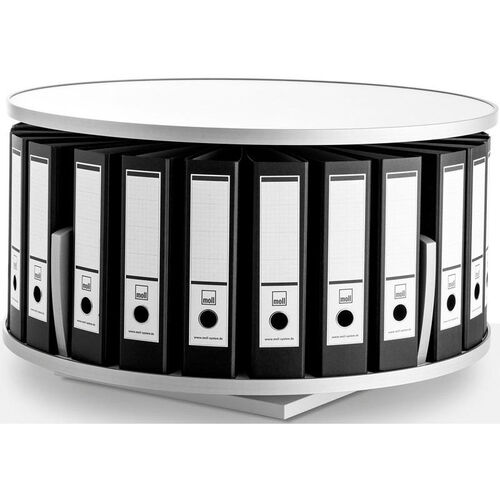 Moll 1 -Tier Desktop Rotary Binder Storage Carousel Shelving - White