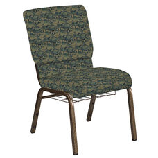 Embroidered 18.5''W Church Chair in Perplex Clover Fabric with Book Rack - Gold Vein Frame