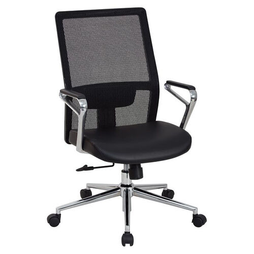 Our OSP Furniture High Mesh Back and Bonded Leather Seat Managers Office Chair with Padded Polished Aluminum Arms and Chrome Base - Black is on sale now.