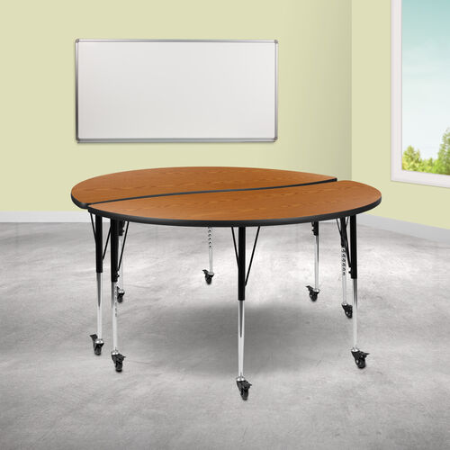 """Our 2 Piece Mobile 60"""" Circle Wave Collaborative Oak Thermal Laminate Adjustable Activity Table Set is on sale now."""