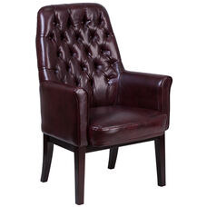 High Back Traditional Tufted Burgundy Leather Side Reception Chair
