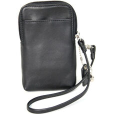 Smartphone or Camera Wristlet Wallet - Top Grain Nappa Leather - Black