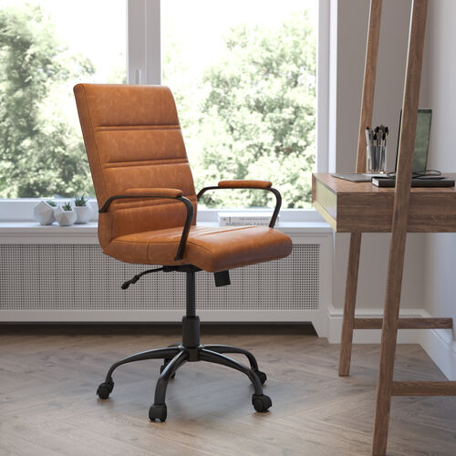 Mid-Back Brown LeatherSoft Executive Swivel Office Chair with Black Frame and Arms