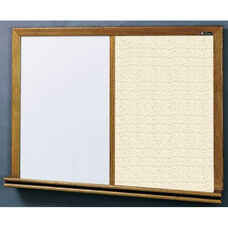 210 Series Wood Frame Combo Markerboard and Tackboard - Fabricork - 96