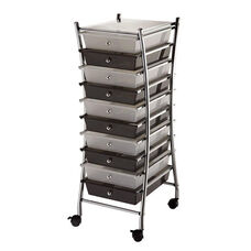 10 Drawer Chrome Frame Storage Cart - Clear and Smoke