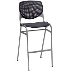 2300 KOOL Series Stacking Poly Armless Barstool with Perforated Back and Silver Frame -Black