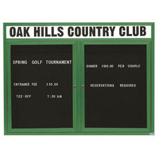 2 Door Outdoor Illuminated Enclosed Directory Board with Header and Green Anodized Aluminum Frame - 48