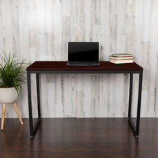 """Commercial Grade Industrial Style Office Desk - 47"""" Length (Mahogany)"""