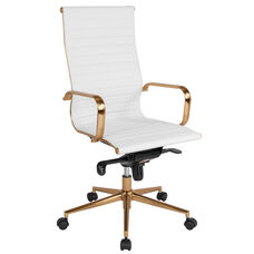 High Back White Ribbed LeatherSoft Executive Swivel Office Chair with Gold Frame, Knee-Tilt Control and Arms