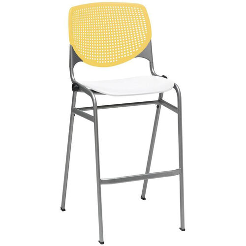 Our 2300 KOOL Series Stacking Poly Armless Barstool with Yellow Perforated Back and White Seat is on sale now.