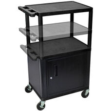 3 Shelf Height Adjustable Mobile A/V Utility Cart with Locking Cabinet and 3 Outlet Surge - Black - 24