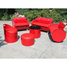 Very Red Steel Drum 6 Piece Conversation Set with Red Accents