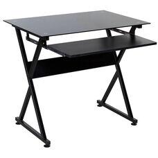 OneSpace Ultramodern Glass Computer Desk - Black