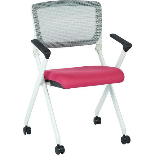 Our Space Pulsar Folding Chair with Breathable Mesh Back and Mesh Fabric Seat - Set of 2 - Pink is on sale now.