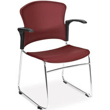 Multi-Use Stack Chair with Plastic Seat and Back with Arms - Wine