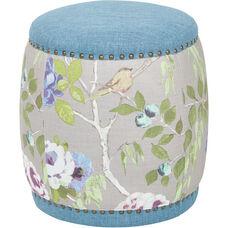 Ave Six Briana Barrel Stool - Sky Blue Fabric