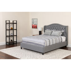 Valencia Tufted Upholstered Queen Size Platform Bed in Light Gray Fabric with Memory Foam Mattress
