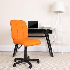 Mid-Back Orange Quilted Vinyl Swivel Task Office Chair