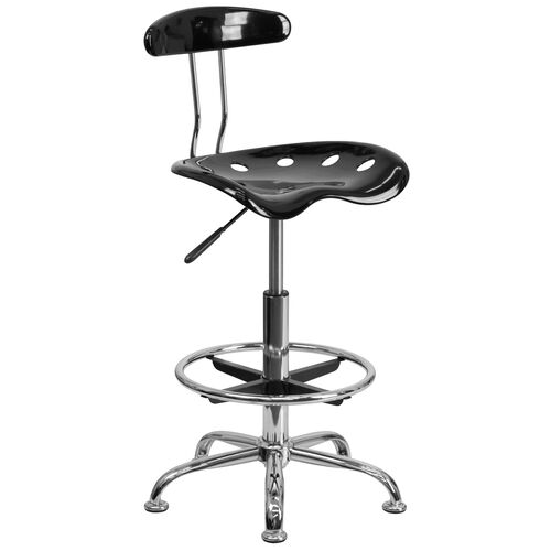 Our Vibrant Black and Chrome Drafting Stool with Tractor Seat is on sale now.