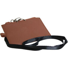 Lanyard ID Holder - Genuine Leather - Tan