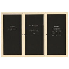 3 Door Indoor Enclosed Directory Board with Ivory Anodized Aluminum Frame - 48