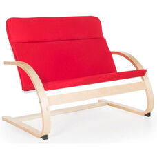 Nordic Couch with Removable Cushion and Steam-Bent Plywood Construction - Red - 36