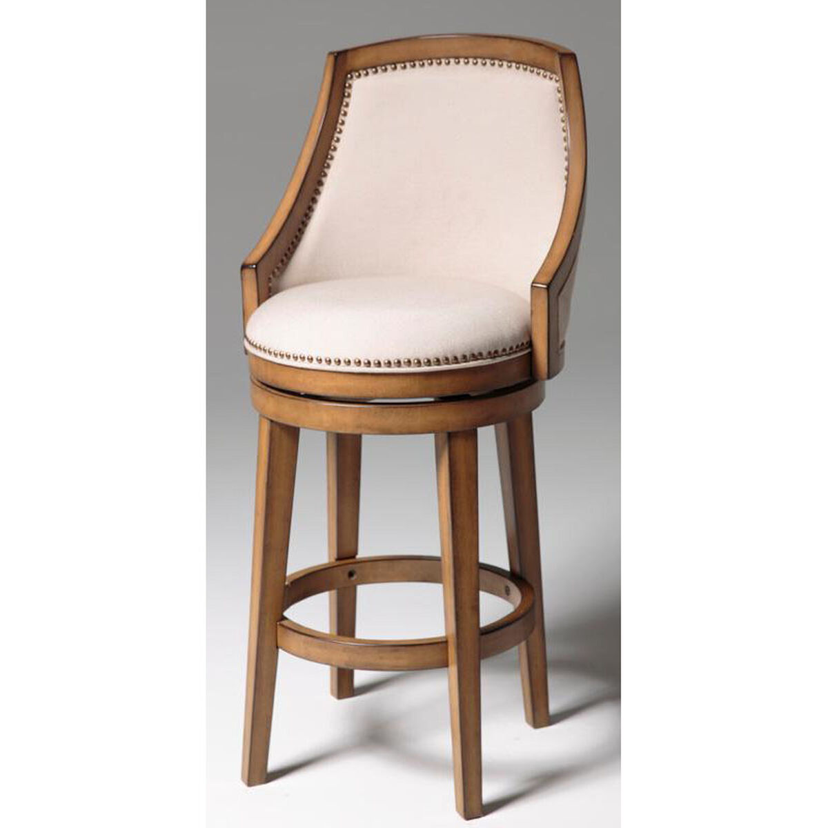 Our Charleston 30 H Wood Sloped Arms Swivel Bar Stool With Putty Upholstered Seat