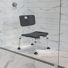 HERCULES Series Tool-Free and Quick Assembly, 300 Lb. Capacity, Adjustable Gray Bath & Shower Chair with U-Shaped Cutout