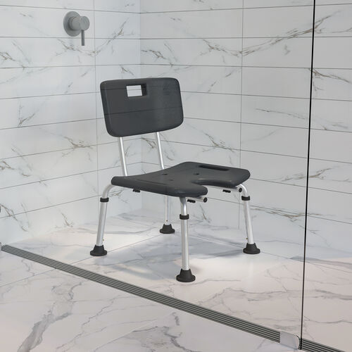 HERCULES Series Tool-Free and Quick Assembly, 300 Lb. Capacity, Adjustable Bath & Shower Chair with U-Shaped Cutout
