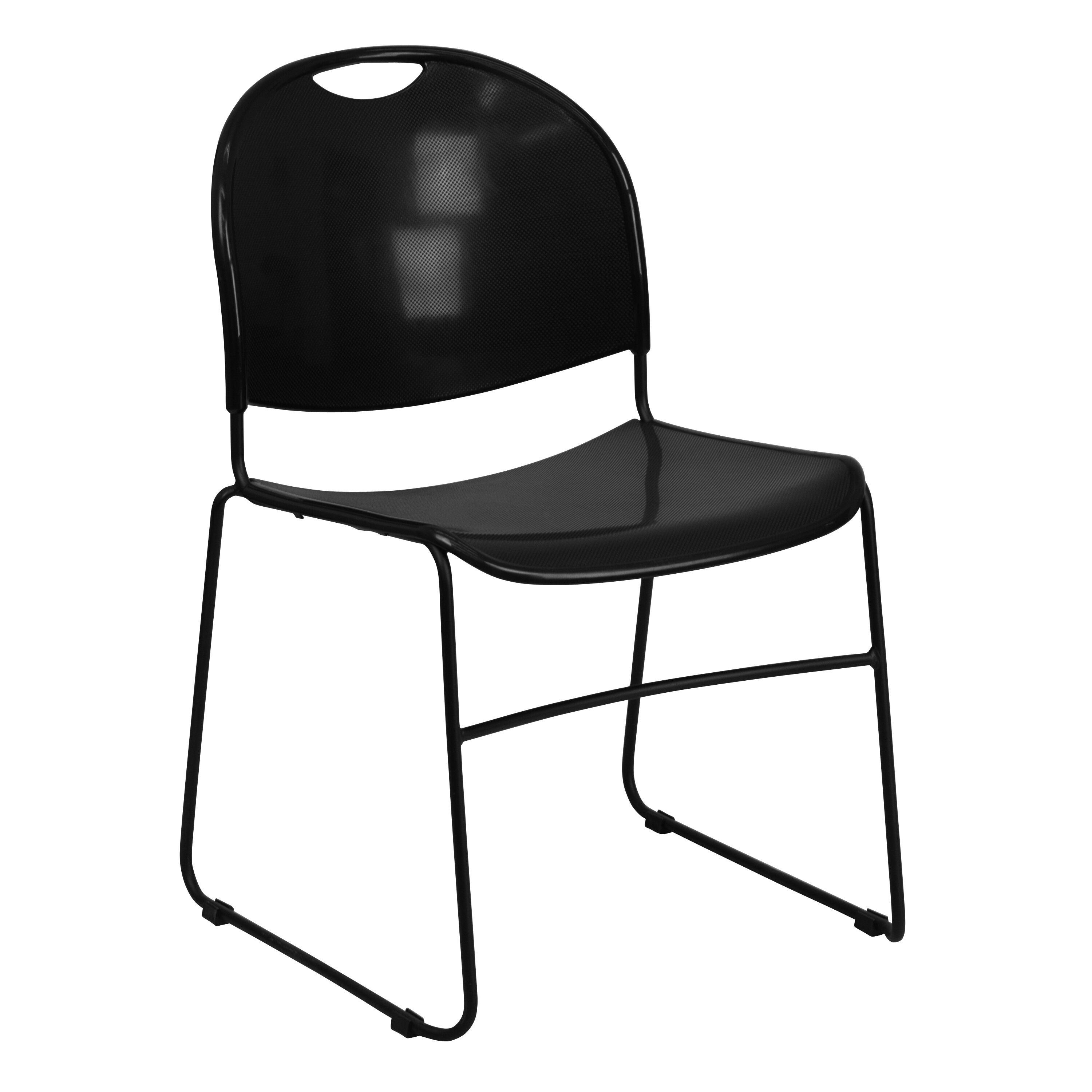 Capacity Black Ultra Compact Stack Chair With Black Frame
