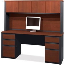 Prestige + Credenza and Hutch Set with Modesty Panel and Wire Management - Bordeaux and Graphite