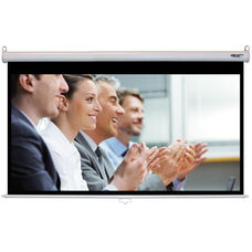 White Wall Mountable Pull-Down Projection Screen with Matte White Fabric Screen and White Aluminum Housing - 80