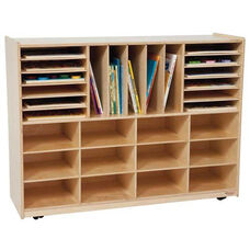 Multi-Sectioned Handy Storage Center with Storage Space for Twelve Rectangular Tote Trays - Assembled - 48