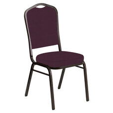 Embroidered Crown Back Banquet Chair in Neptune Aubergine Fabric - Gold Vein Frame