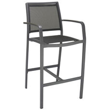 South Beach Collection Aluminum Outdoor Barstool with Arms and Textile Back - Black