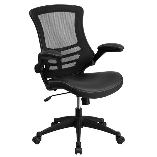 Our Mid-Back Black Mesh Swivel Task Chair with Leather Seat and Flip-Up Arms is on sale now.