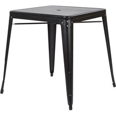 OSP Designs Bristow Metal Dining Table with Umbrella Hole - Matte Black Finish